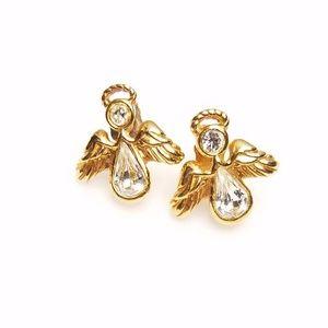 Cute Avon Gold Bling Religious Angel Stud Earrings